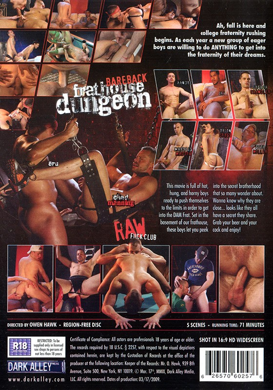 Bareback Frathouse Dungeon DVD - Back