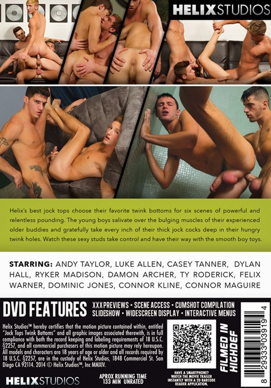Jock Tops Twink Bottoms DVD - Back