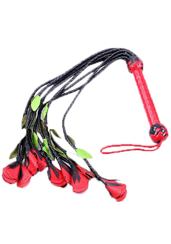 Nine Tail Rose Flogger w. Red & Green Petals - Front
