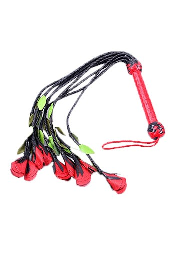 Nine Tail Rose Flogger w. Red & Green Petals - Gallery - 001