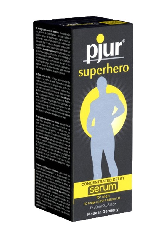 Pjur Superhero Concentrated Delay Serum Pump Bottle 20ml - Front