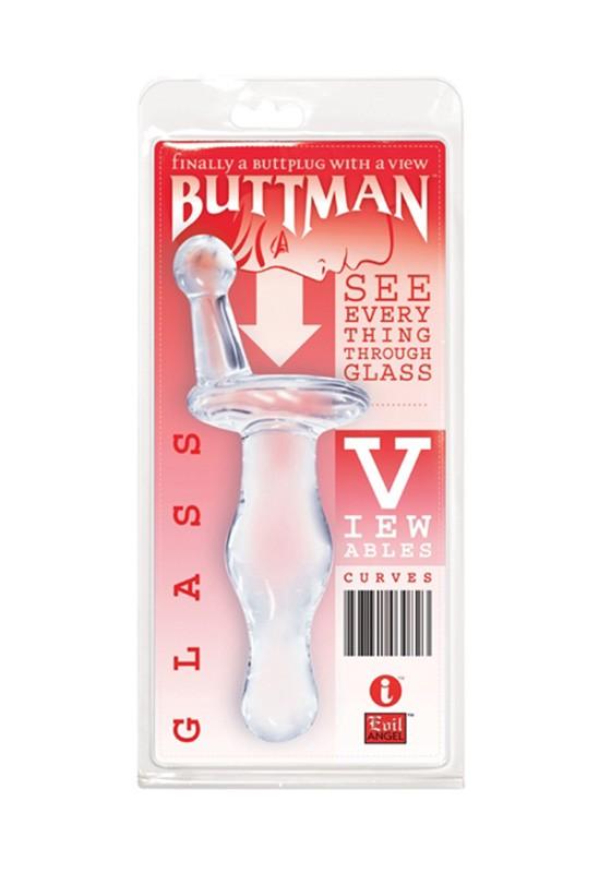 ButtMan's Viewable Glass Butt Plug - Curves - Back