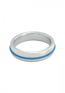 Stainless Steel Slim Cock Ring With Blue Band