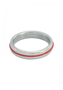 Stainless Steel Slim Cock Ring With Red Band
