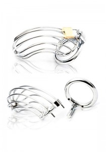 Male Chastity Device - Bird Cage - Stainless Steel - Front
